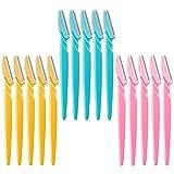 Maquinilla de afeitar para cejas, 15 piezas de herramientas de maquillaje, afeitadoras, recortadoras, removedor de cuchillos para el vello facial (rosa, azul cielo, amarillo)