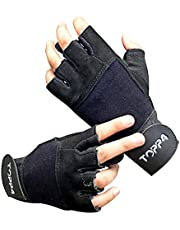 Toppfour Training Sports Leather Gloves Unisex with Wrist Support for Weightlifting Gym Workout & Yoga Exercise to Avoid Calluses for Weight Lifting Suits Both Men Women