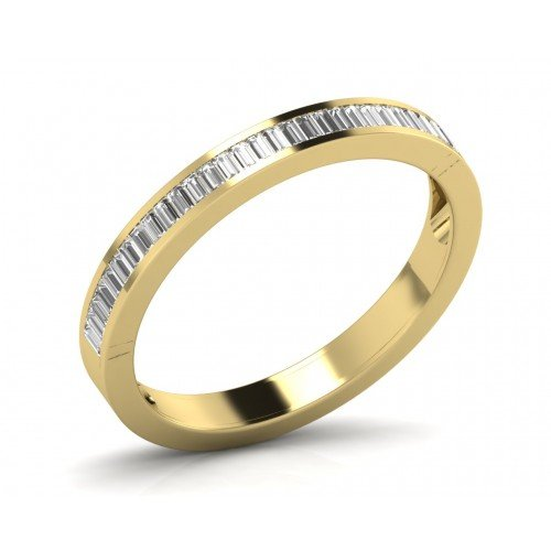 0.50ct Channel Set Baguette Cut Diamond Half Eternity Wedding Ring in 18K Yellow Gold (J)