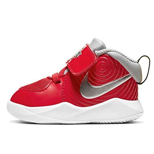 Nike Team Hustle D 9 Auto (TD), Zapatillas de básquetbol Niños, University Red Metallic Silver Wolf Grey, 21 EU