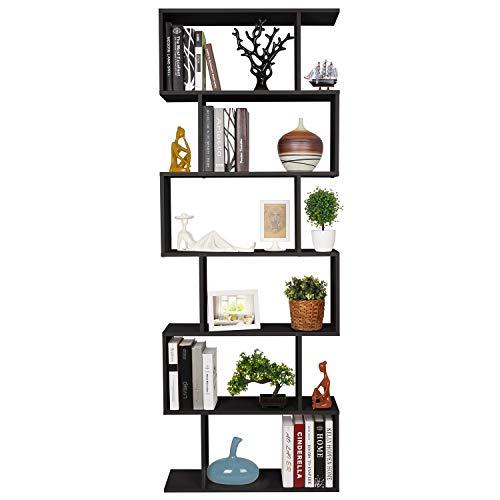 Homfa Bibliothèque Étagère Livres Étagère pour Livres Étagère de Rangement en Forme S pour Bureau, Salon, Chambre d'Étude (Noir)