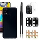 YHX-OU 6,40 pulgadas para Samsung Galaxy M31 Lente de cristal cámara trasera [2 unidades] con pinzas + 2 cámaras de cristal templado (negro)