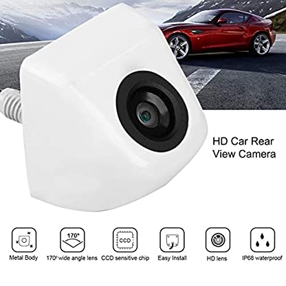 Angort-Hlyjoon-Auto-Rueckfahrkamera-170-Weitwinkel-Hochaufloesend-Nachtsicht-Einparkkamera-12V-IP68-Wasserdicht-Rueckansicht-Kamera-Unterstuetzt-NTSC-und-PAL-VideosystemWeiss