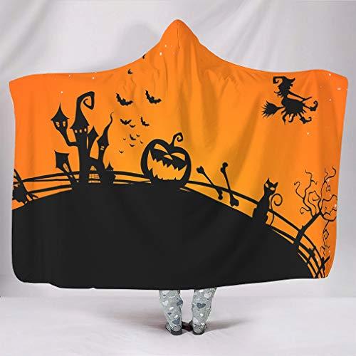 Super zacht met capuchon deken vakantie Halloween heks pompoen vleermuizen slot druk warmer winter fleece magische omhang van de waaier knuffelen bank beddengoed