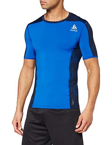 Odlo ceramicool Pro Print BL CN SS, T-Shirt Manches Courtes Homme L Energy Blue