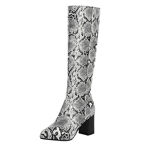 Kaizi Karzi Damen Mode High Heel Catwalk Schuhe Snake-Print Knee Stiefel Reißverschluss Halbe Stiefel Blockabsatz Stiefel White Große 39 Asiatisch