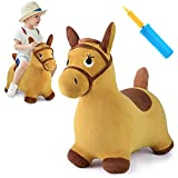 iPlay, iLearn Bouncy Pals Yellow Hopping Horse, Outdoor Ride on Bouncy Animal Play Toys, Inflatable Hopper Plush Covered W/ Pump, Activitie Gift for 18 Months 2 3 4 5 Year Old Kids Toddlers Boys Girls