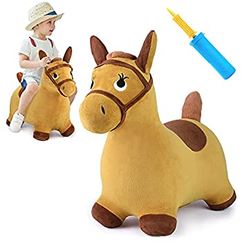 iPlay iLearn Bouncy Pals Yellow Hopping Horse Outdoor Ride on Bouncy Animal Play Toys Inflatable Hopper Plush Covered W/ Pump Activitie Gift for 18 Months 2 3 4 5 Year Old Kids Toddlers Boys Girls