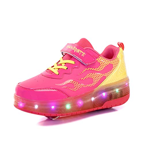 Good-time Kinder Junge Mädchen Led Schuhe Sneaker Mit Rollen 7 Farbe Farbwechsel Wheels Skate Schuhe(Doppelrad-Rose,33 EU)