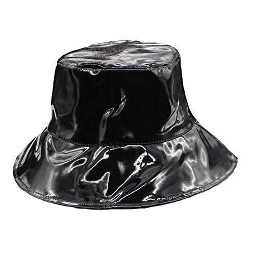 Sombrero De Moda Primavera Verano Otoño Mujeres Hombres Color Plata Cuero Brillante Cuero Plegable PU Cuero Pescador Sombrero Cubo Sombreros