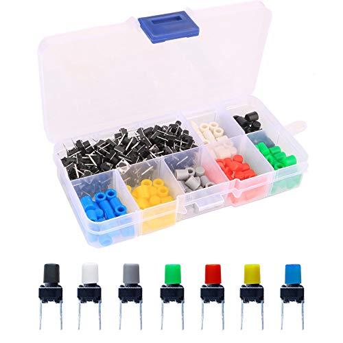 Gebildet 105pcs 6×6×8mm Schalter Momentane Taktschalter,Tactile Tact Push Button Switch,Drucktaster mit Knopf Kappen von 7 Farbe für Arduino(Jede Farbe 15pcs)