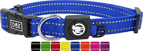 DDOXX Hundehalsband Nylon, reflektierend, verstellbar | für kleine & große Hunde | Halsband Hund Katze Welpe | Hunde-Halsbänder groß breit | Katzen-Halsband Welpen-Halsband klein | Blau, XS