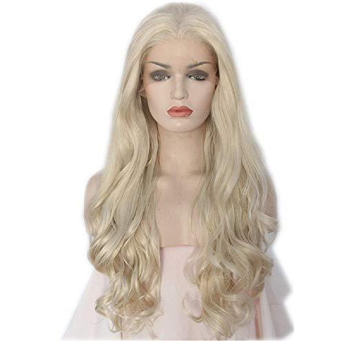 Platine Couleur Body Wave Style perruques À La Main Femmes Sans Colle Résistant À La Chaleur Résistant Aux Cheveux Maquillage Synthétique Avant De Lac