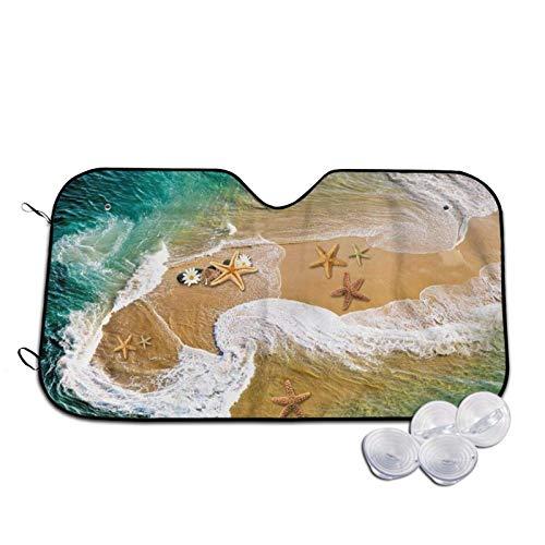 Parasol para parabrisas de coche con estampado de estrellas de mar Surf Beach, parasol para ventana frontal, rayos UV, visera pequeña