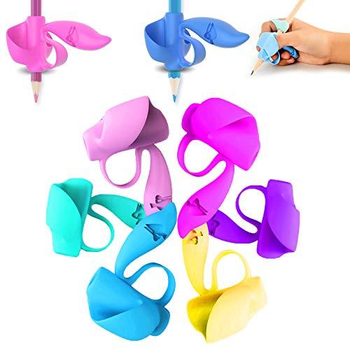 Pencil grip(Ardilla), Corrector de escritura para niños - Soporte y agarrador ergonómico para escribir correctamente 6 Piezas/set