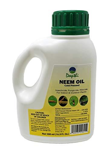 jason neem oils Deepthi Neem Oil Cold Pressed for Plants – 16.9 Fluid Oz (500 ml) - Spray for Indoor Outdoor Garden - Natural Insecticide - Kills Caterpillars, Aphids, Beetles, Mites – Controls Mildew