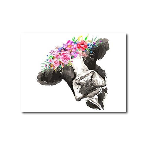YWOHP Vaca y Flor Acuarela Pared Arte Lienzo Pintura Granja decoración de la Pared Highland Animal Vaca impresión Abstracta Cartel nórdico-40x50_cm_No_Frame_PC1157