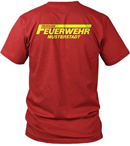Feuerwehr - Freiwillige Feuerwehr - Neon Gelb - Brust & Rücken Aufdruck - inkl. Stadt/Ort Wunschnamen anpassbar personalisiert - Herren T-Shirt und Männer Tshirt, Farbe:Rot, Größe:XL
