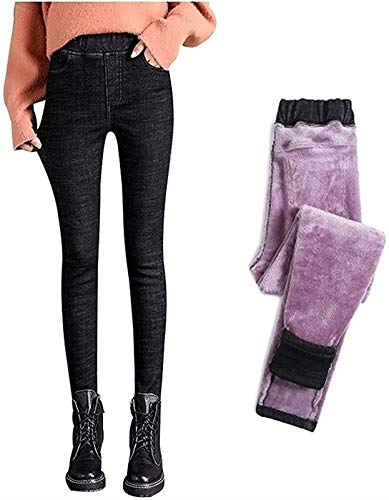 Frauen Mit Hoher Taille Thick Jeggings Stretchy Denim Legging Bequeme Mode Jeans Hose,Thermo Gefüttert Winter Warme Hose (Color : Black, Size : XS)