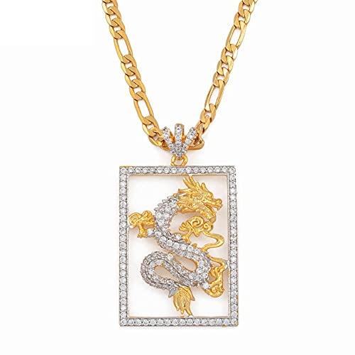 Collares Collares con colgante de dragón auspicioso de circonita cúbica para hombres, mujeres, joyería de color dorado, adornos de mascota, símbolo de la suerte, 45 cm por 3 mm