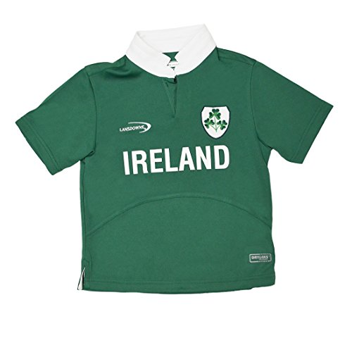 Lansdowne Green Ireland Shamrock Performance Short Sleeve Kids Rugby Shirt (5/6 Years)