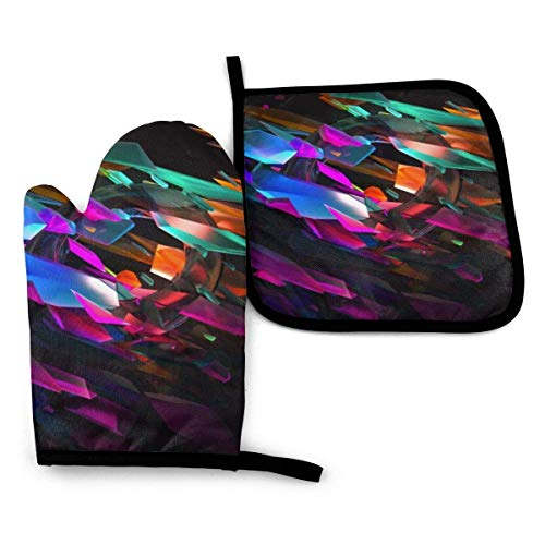 Oven Mitts and Pot Holders Sets, Colorful Vitreous Tablet Non-Slip Kitchen Mitten, Advanced Heat Resistance Cooking Gloves for BBQ Baking Grilling