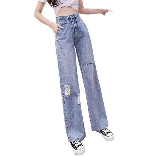 New Women Daily Leisure Stretch Fashion Ripped Jeans High Waist Tummy Control Loose Retro Wide Leg Denim Pants with Pockets 28
