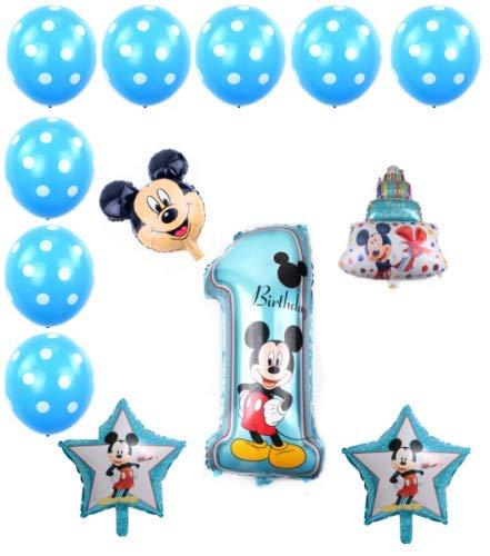 Generisch Ballon-Set Mickey Mouse 1 Jahr, Party Kindergeburtstag, Luftballon, Set, 13-teilig