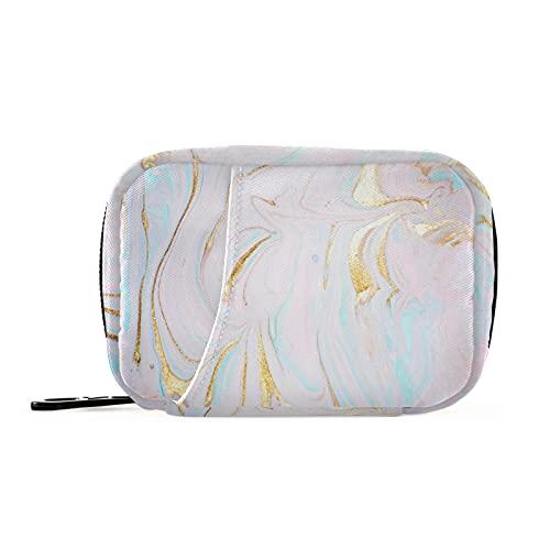 COZYhome - Scatola per pillole 7 giorni Pastello liquido marmo Texture caso Am Pm 8 scomparti singoli pillole borsa con cerniera medicina caso organizzatore