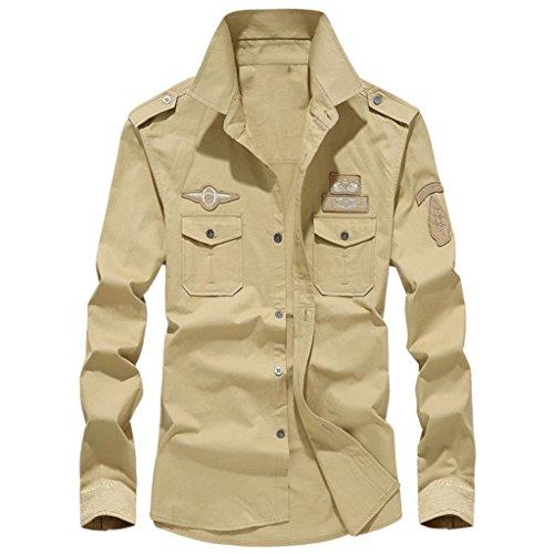 Camicetta Superiore da Uomo a Maniche Lunghe con Bottoni Collo Alto, Stile Militare Casual Camicia in Cotone Risvolto T-Shirt Uomo Maglietta Maglia Maniche Lunghe Moda(Khaki,3XL)