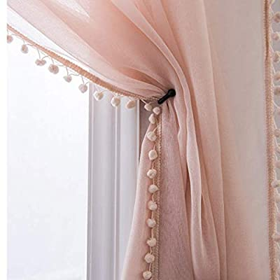 Selectex Linen Look Pom Pom Tasseled Sheer Curtains - Rod Pocket Voile Semi-Sheer Curtains for Living and Bedroom, Set of 2 Curtain Panels (52 x 95 inch, Blush)
