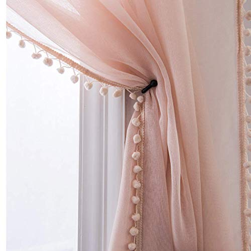 Selectex Linen Look Pom Pom Tasseled Sheer Curtains - Rod Pocket Voile Semi-Sheer Curtains for Living and Bedroom, Set of 2 Curtain Panels (52 x 84 inch, Blush)