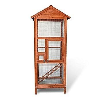 Cage à oiseaux en bois de haute qualité 72 x 63 x 168 cm éxterieur et interieur