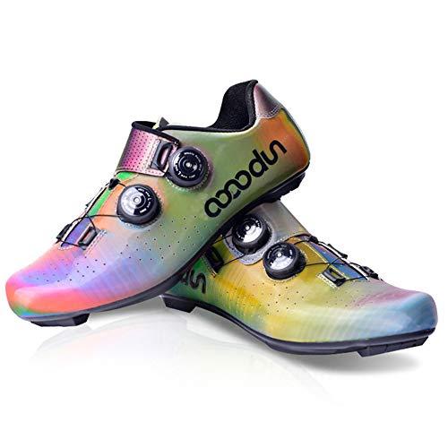 boodun Scarpe da Ciclismo da Uomo,Scarpe da Bici da MTB Unisex per Adulti,Suola - Fibra di Carbonio,Multi-coloredA-42EU