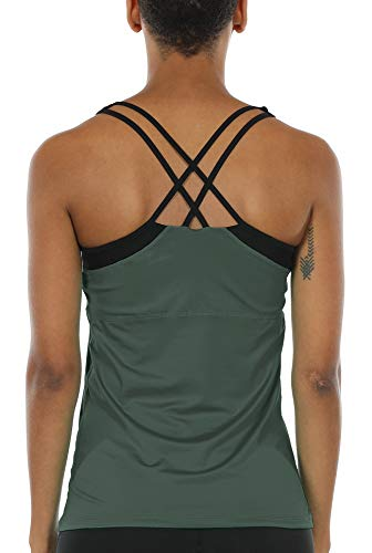 icyzone Damen 2 in 1 Sport Yoga Tops mit BH - Gym Shirts Fitness Trainings Tank Top (L, Rauchiges Grün)