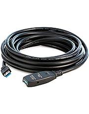 MutecPower 7,5 m USB 3.0 hane till hona kabel med förlängningschipset – USB aktiv förlängningskabel repeterkabel – svart – 7,5 meter