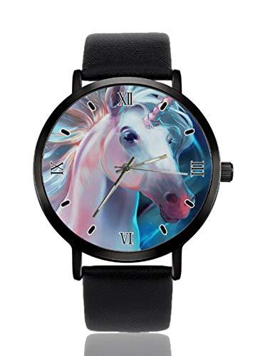 PALFREY - Reloj de pulsera realista con diseño de unicornio, para negocios, casual, de cuarzo, para mujeres, hombres, impermeable, unisex,
