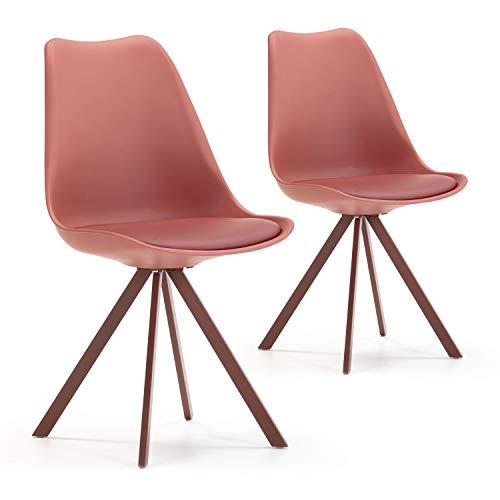 VS Venta-stock Set de 2 sillas Comedor Cross Estilo nórdico Rojo, certificada por la SGS, 54 cm (Ancho) x 49 cm (Profundo) x 84 cm (Alto)