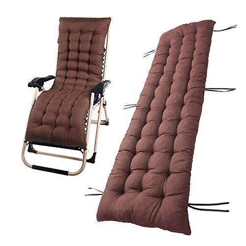 DABAI99 Cojín de repuesto para tumbona, cojín grueso para silla de jardín, patio, playa, respaldo alto, relajador, sin sillas (café, 48 x 160 cm)