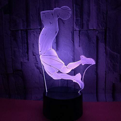 JJIEZZ Luz de Noche 3D USB Decorativo Dormitorio Luz de Noche Atleta Baloncesto Regalos de Tiro Lámpara Multicolor