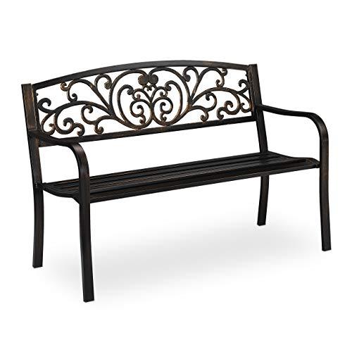 Relaxdays Banc de Jardin Antique, 2 Personnes, Balcon, terrasse, Protection Anti Rouille, en métal, 81x127x56,5x63cm, Acier, Fonte, Noir/doré