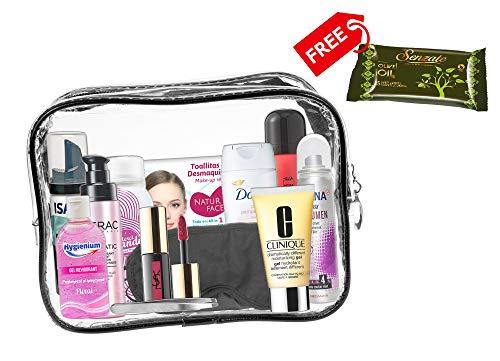 A2S 13 teiliges Komfort-Reiseset für Damen, Reise Wesentliches, Urlaubs- und Geschäftsreisen, bestehend notwendigen Körperpflegeprodukten in einem PVC-Kosmetikkoffer. Kabine genehmigt. (Frau Neu)