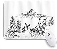 EILANNAマウスパッド アラスカマラミュート冬ハスキーマウンテンパイン荒野アート ゲーミング オフィス最適 高級感 おしゃれ 防水 耐久性が良い 滑り止めゴム底 ゲーミングなど適用 用ノートブックコンピュータマウスマット