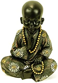 CAPRILO Figura Decorativa Budista Monje Tibetano Sentado Figuras Resina. 17 x 11 x 21 cm.