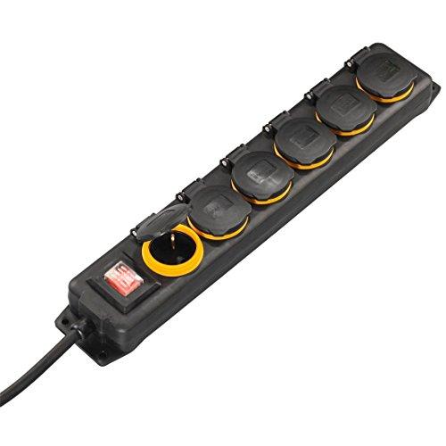 Hama Utomhus grenuttag med strömbrytare, 6-faldigt, 2 m (stänksäker enligt IP44, med gångjärnslock, lämplig för väggmontering) utomhus flera uttag svart