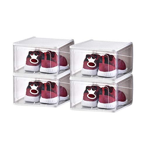 Caja De Almacenamiento De Zapatos De Gran TamañO, Caja De Zapatos Transparente Gruesa De Alta Gama, Organizador De Zapatos, Caja De Almacenamiento Con Tapa, Apilable, 4 Pcs,White