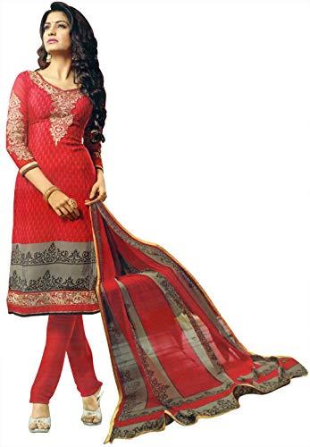 Exotic India Traje de Salwar-Kameez impreso Urban-Rojo con bordado Zari en el cuello y estampado floral Dupatta