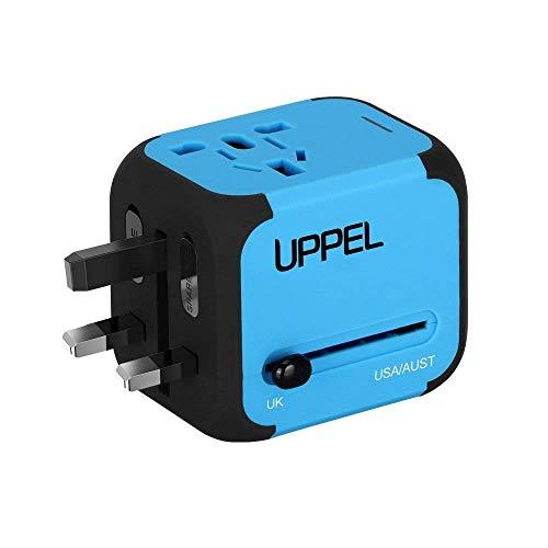 UPPEL Reiseadapter Universal Stromadapter Steckdosenadapter Reisestecker mit Doppel USB-Ports für Europa UK AUS USA CN Universal fusionierten Sicherheit AC-in Einem Ladegerät (Blau)