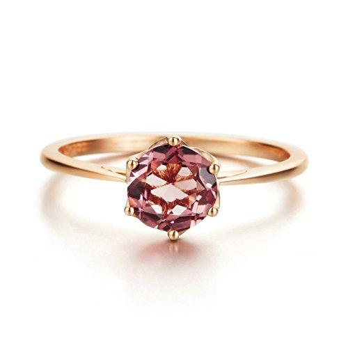 Daesar Donne Anelli 18K Oro Rosa Anello Circolare Tormalina 0.85ct FEDI Nuziali Cz Fedina Dimensioni 17