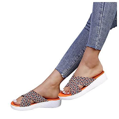 Sandalias Plana de Mujer Verano 2021 Zapatillas para Mujer casual de goma playa cabeza redonda con suela gruesa imitación cuero Zapatos Bohemia Chanclas talla grande Interior exterior chancletas